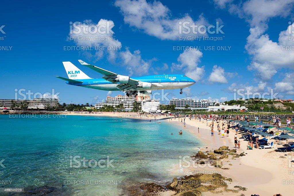 KLM Boeing 747 landing at Maho Beach, St Maarten stock photo