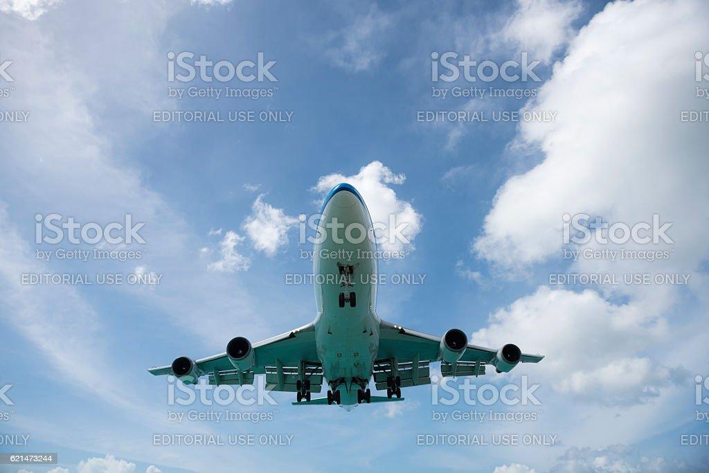 KLM Boeing 747 landing at Maho Beach, St. Maarten stock photo