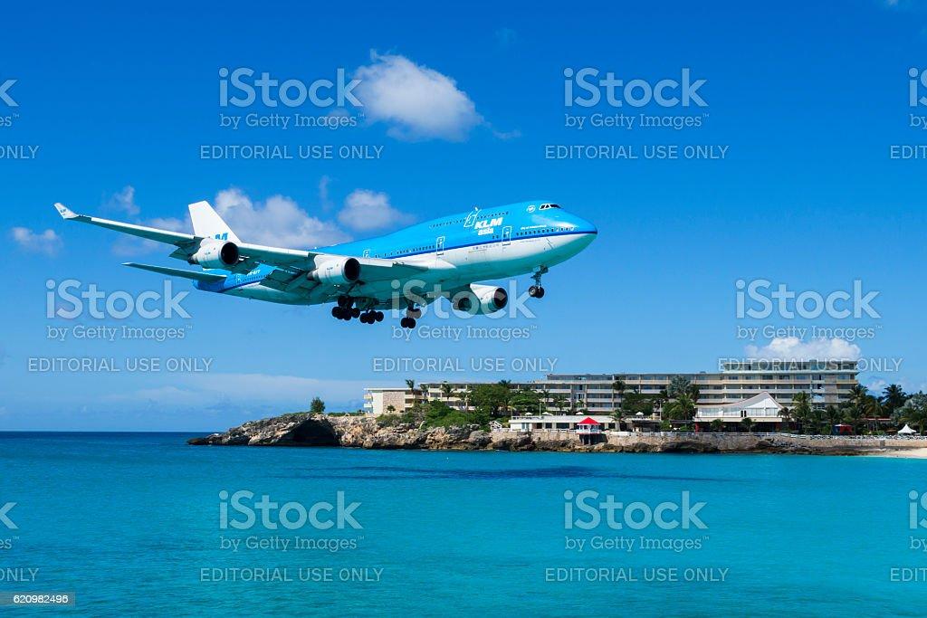 KLM Boeing 747 landing on St. Maarten stock photo