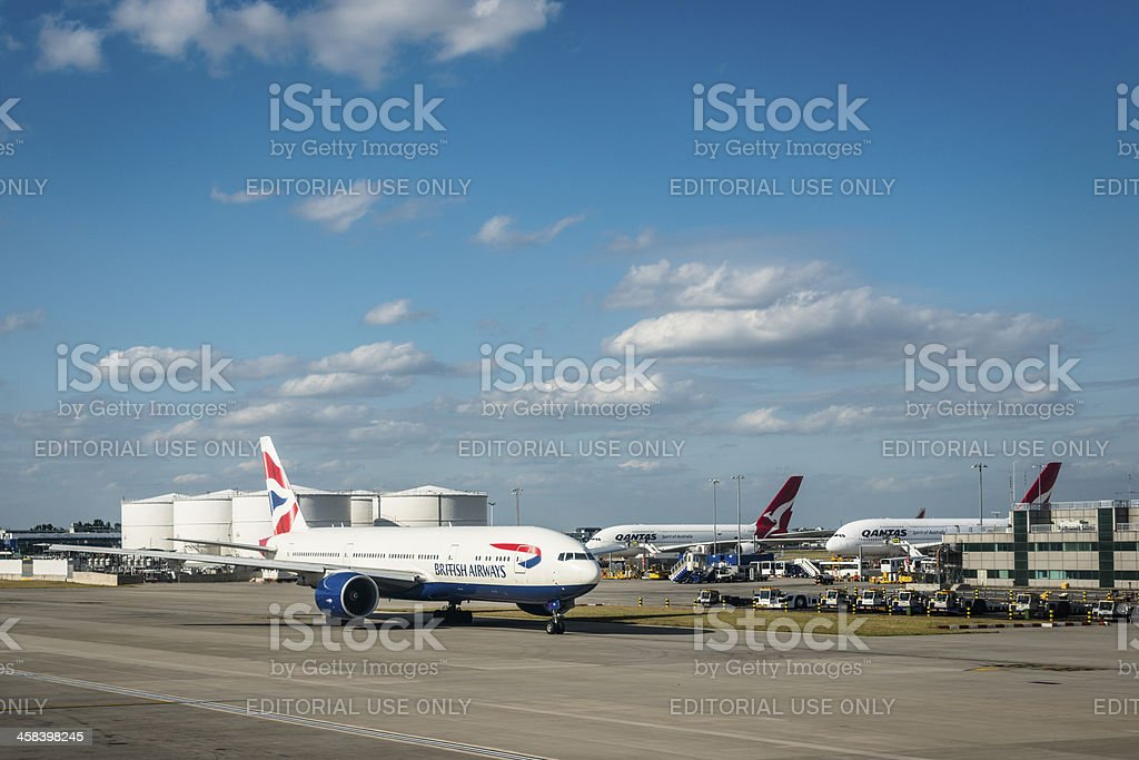 Boeing 747 of British Airways at Heathrow Airport royalty-free stock photo