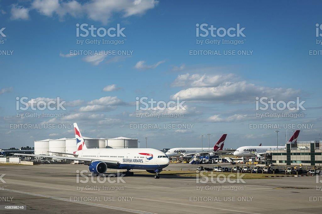 Boeing 747 of British Airways at Heathrow Airport stock photo
