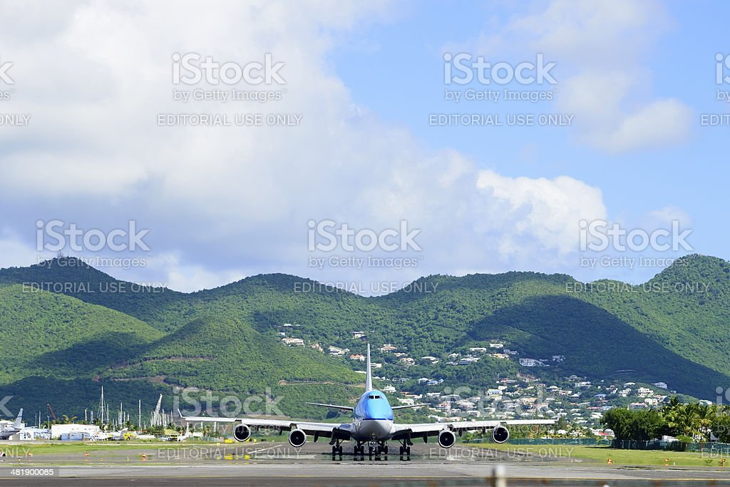 Boeing 747 on runway stock photo