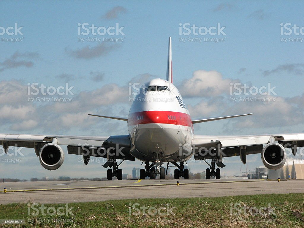 Boeing 747 plane waiting for departure royalty-free stock photo
