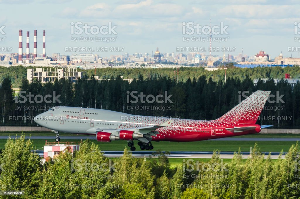 Boeing 747 Rossiya airlines, airport Pulkovo, Russia Saint-Petersburg August 2016 stock photo