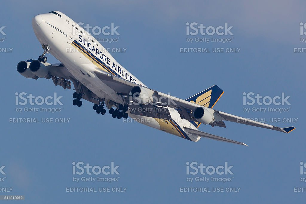 Boeing 747 Singapore Airlines takes off from JFK Airport stock photo