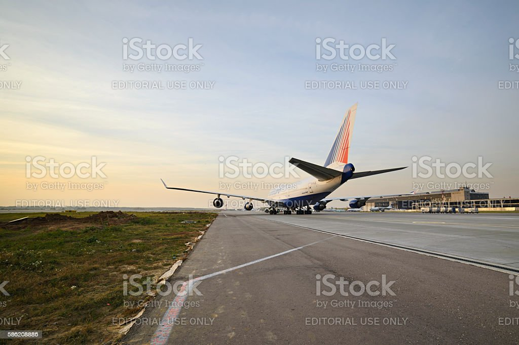 Boeing 747 Transaero taxiing to the runway. stock photo