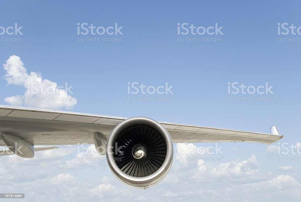 Boeing 747 Wing with Engine stock photo