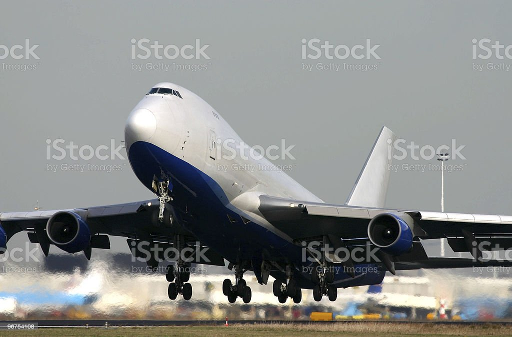 A Boeing 747-400F taking off stock photo