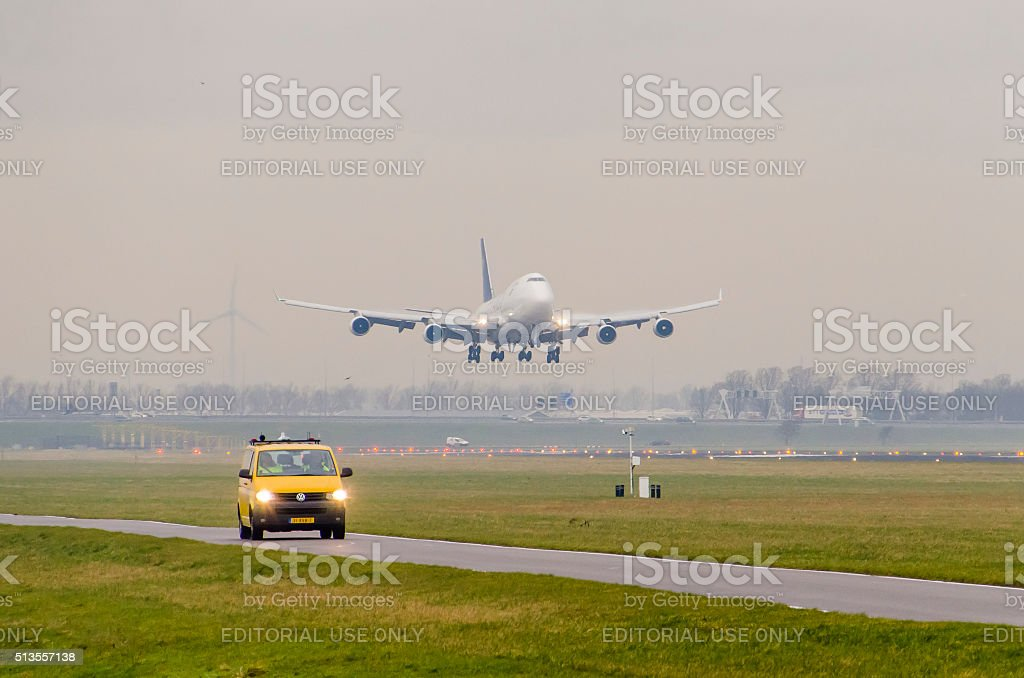 Boeing 747-4H6 of Saudia Cargo landing at Schiphol stock photo