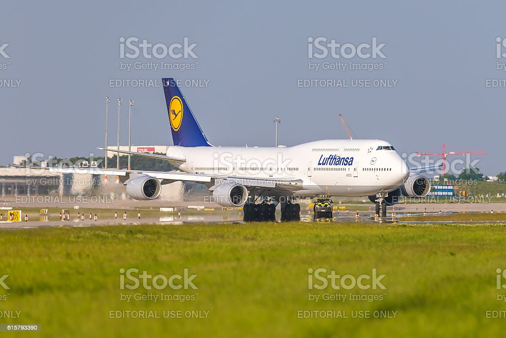 Boeing 747-8 of Lufthansa at ILA Berlin Air Show 2014 stock photo
