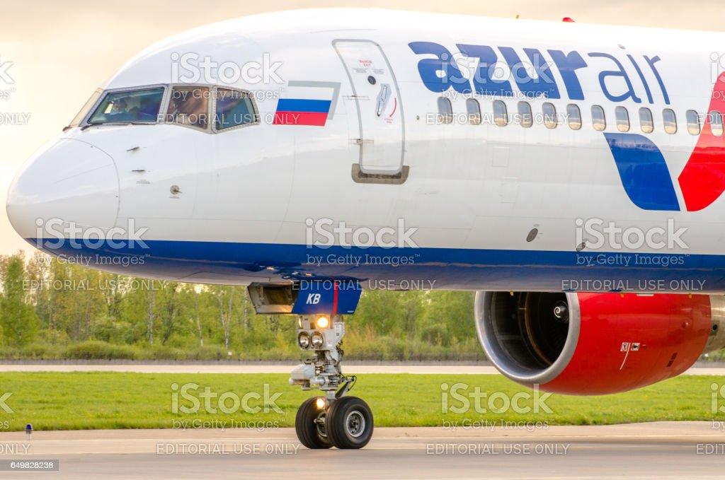 Boeing 757 Azur air airlines, airport Pulkovo, Russia Saint-Petersburg August 2016 stock photo