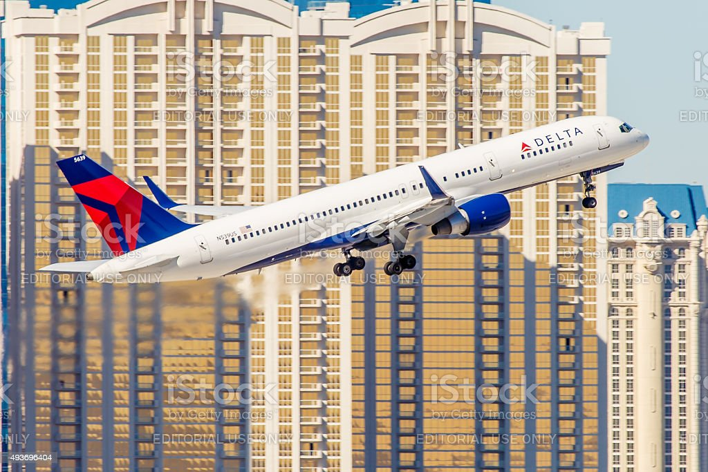 Boeing 757 Delta Airlines takes off from McCarran Airport stock photo
