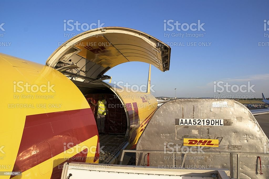 DHL Boeing 757 loading Cargo in Madrid stock photo