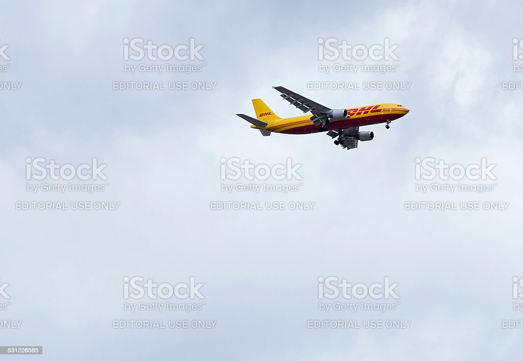 DHL Boeing 757 on approach . stock photo
