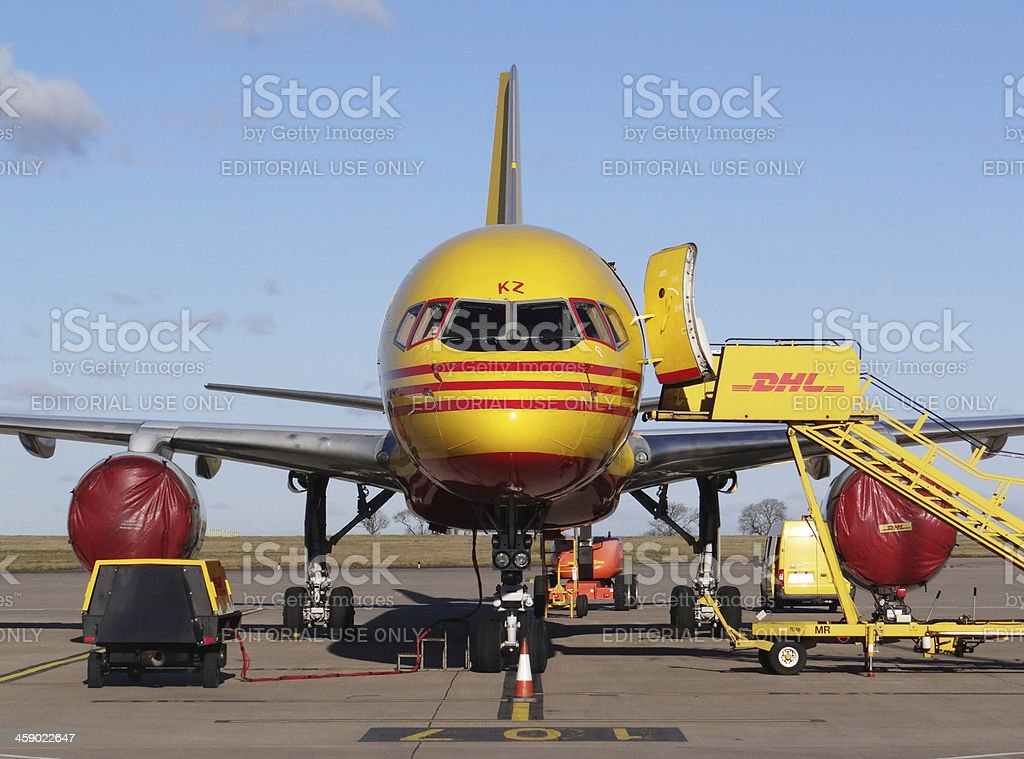 DHL Boeing 757 royalty-free stock photo