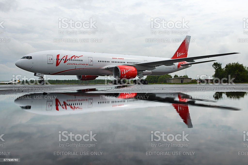 Boeing 757 Vim airlines in the parking lot, stock photo