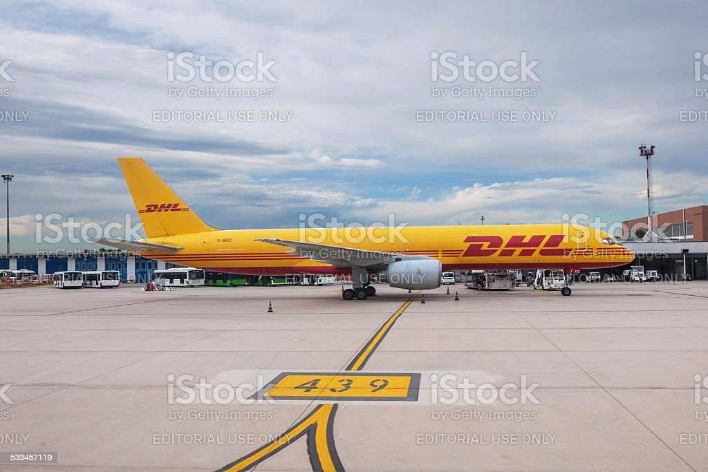 DHL Boeing 757-200 aircraft at Venice Marco Polo airport stock photo