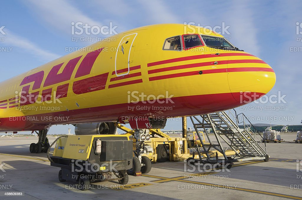 DHL Boeing 757-200SF aircraft parked at Barcelona Airport royalty-free stock photo