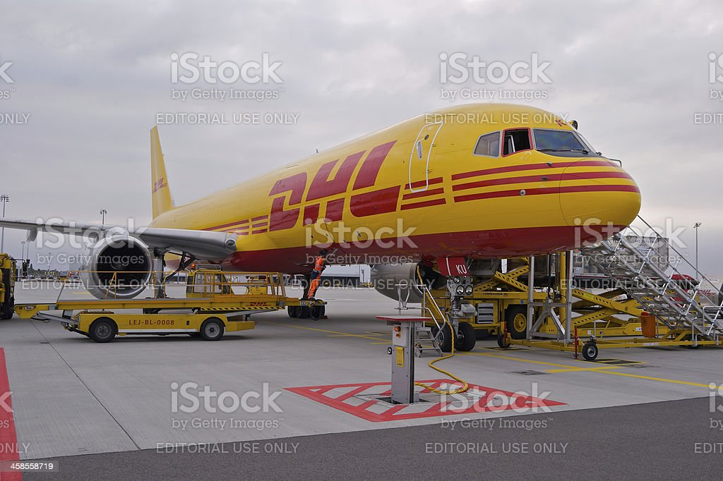 DHL Boeing 757-200SF cargo aircraft royalty-free stock photo