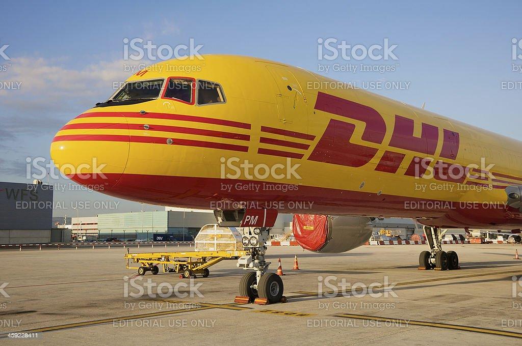 DHL Boeing 757-200SF cargo aircraft stock photo