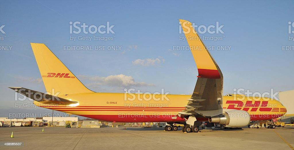 DHL Boeing 767 airplane stock photo