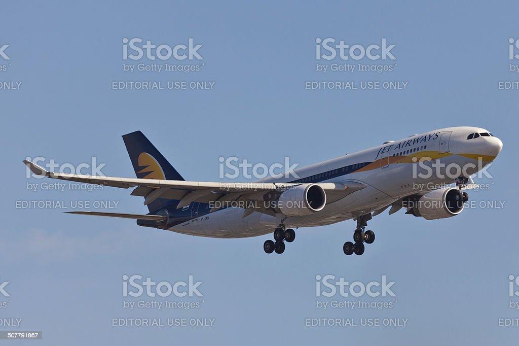 Boeing 767 Jet Airways approaches JFK Airport stock photo