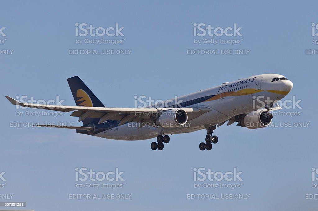 Boeing 767 Jet Airways landing at JFK Airport stock photo