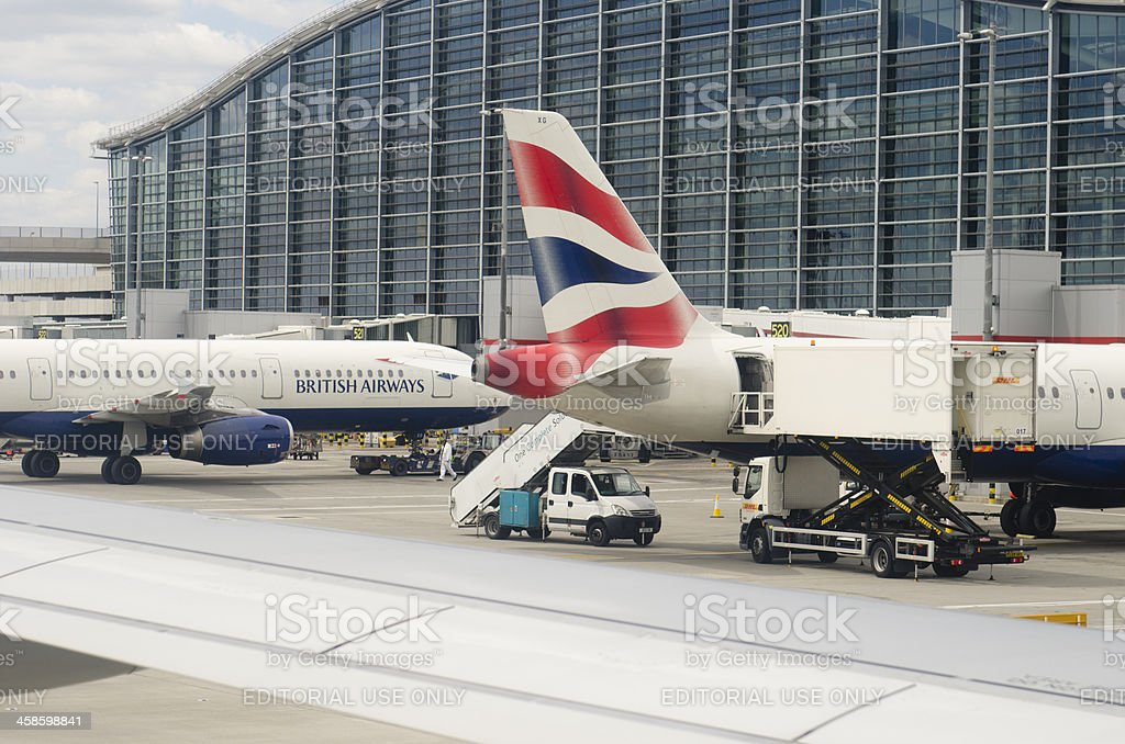Boeing 767 of British Airways at Heathrow Airport stock photo