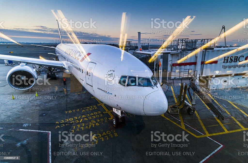 Boeing 777 at JFK International Airport stock photo