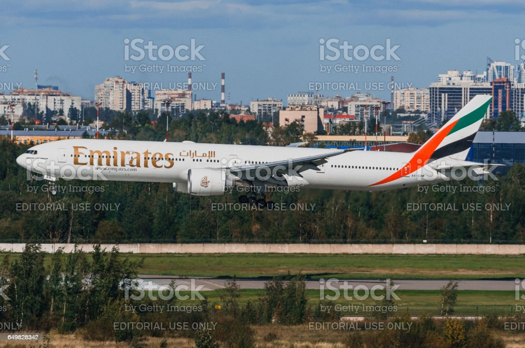 Boeing 777 Emirates, airport Pulkovo, Russia Saint-Petersburg August 2016 stock photo