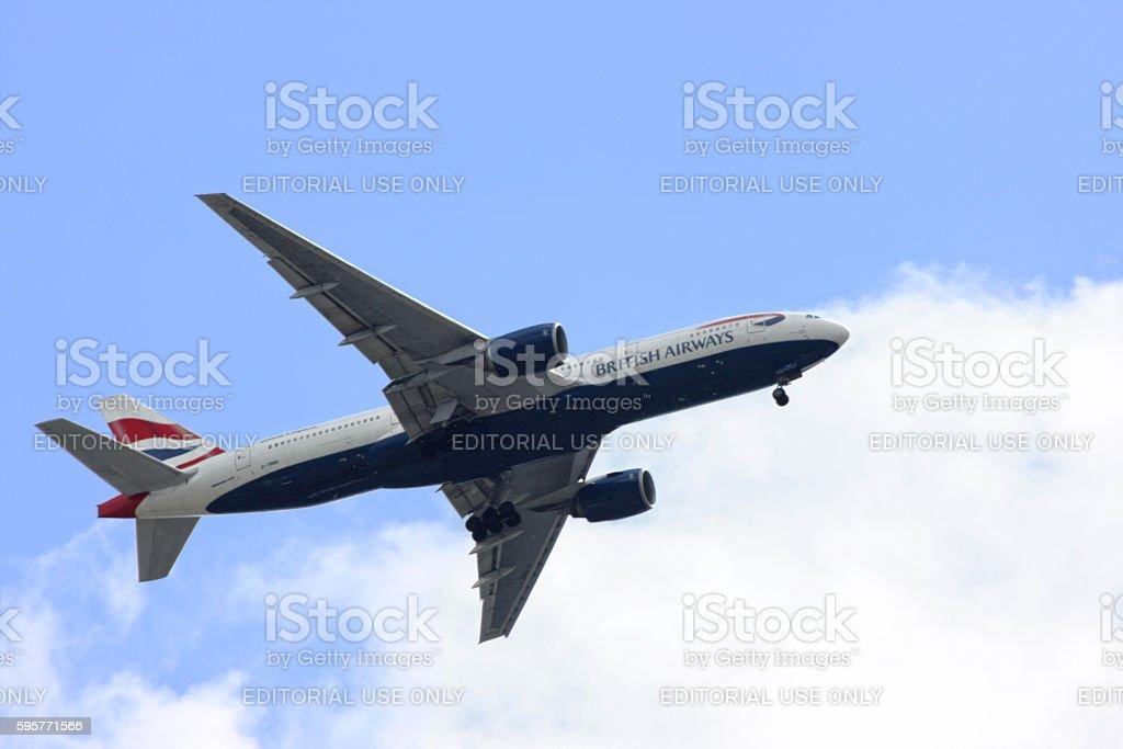 Boeing 777 from British Airways stock photo