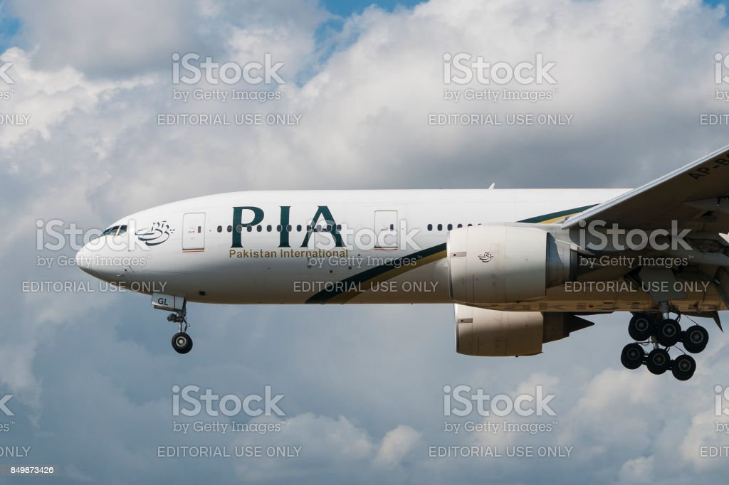 PIA Boeing 777 nose, engines and gear stock photo