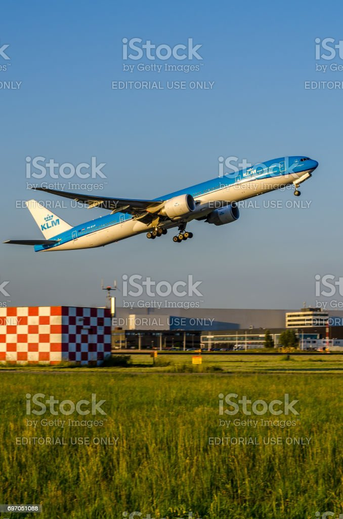 Boeing 777 of KLM taking off at Schiphol stock photo