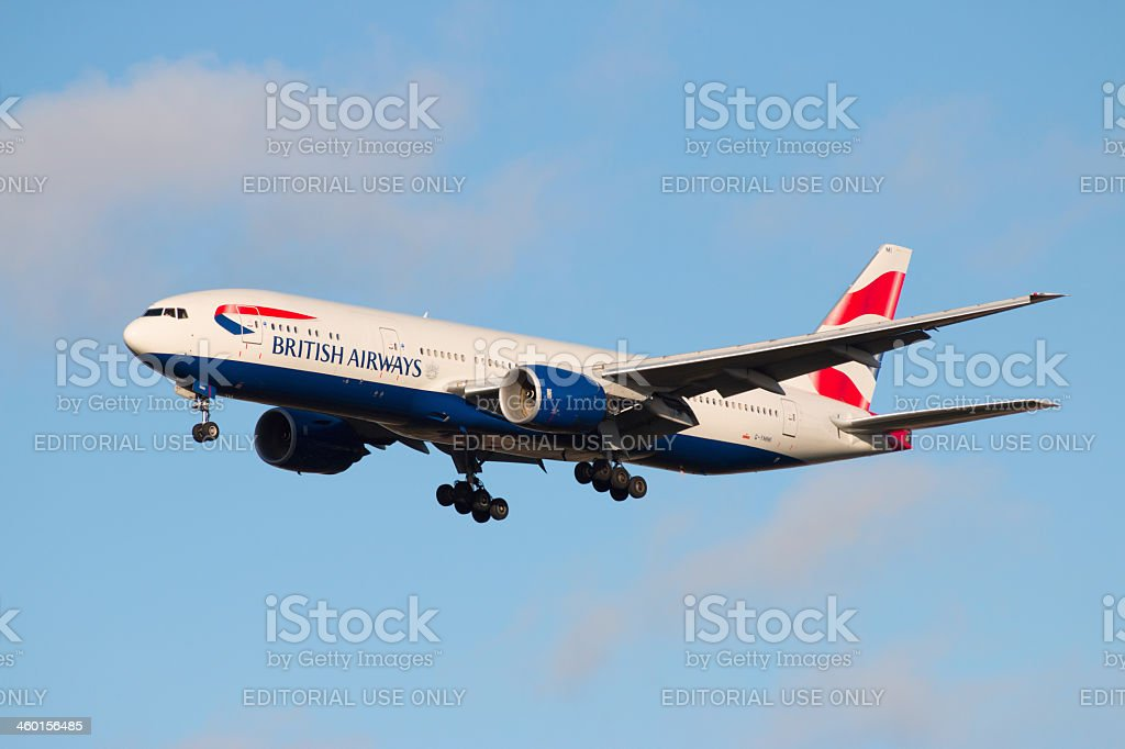 Boeing 777 on final approach stock photo