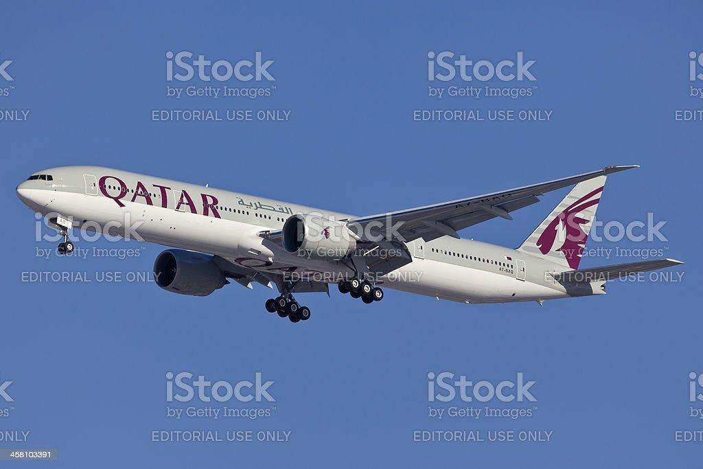 Boeing 777-200 Qatar Airways stock photo