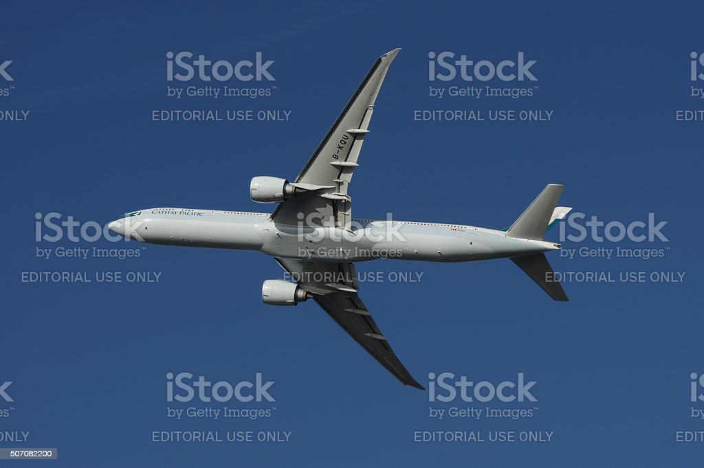Boeing 777-300ER of Cathay Pacific stock photo