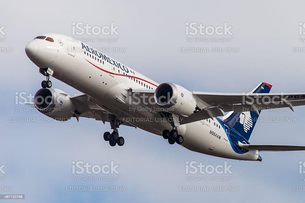 Boeing 787 Dreamliner Aeromexico arrives at JFK International Airport stock photo