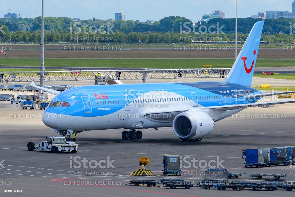 Boeing 787 Dreamliner airplane at the airport stock photo
