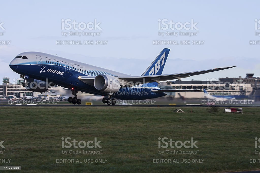Boeing 787 Dreamliner at Dublin Airport stock photo