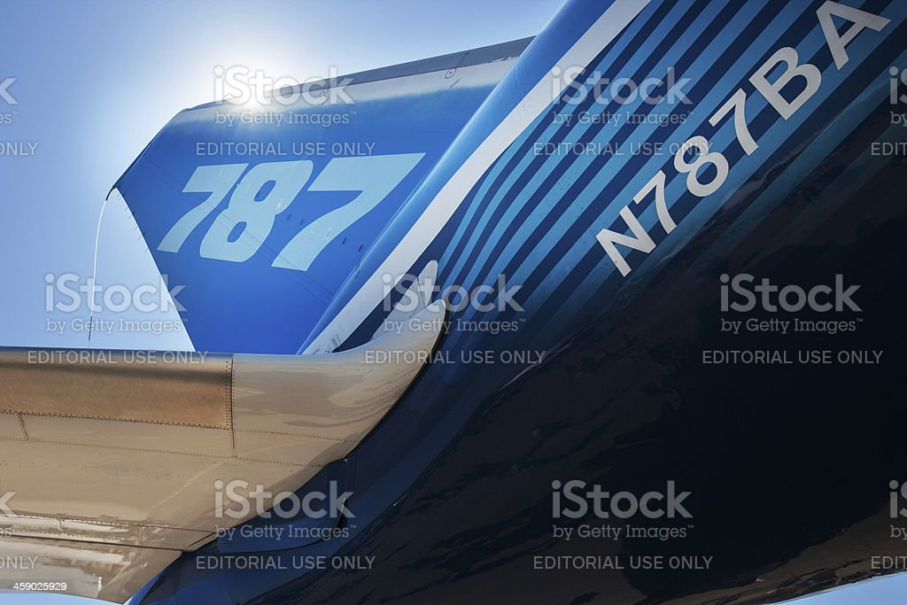 Boeing 787 Dreamliner tail section stock photo