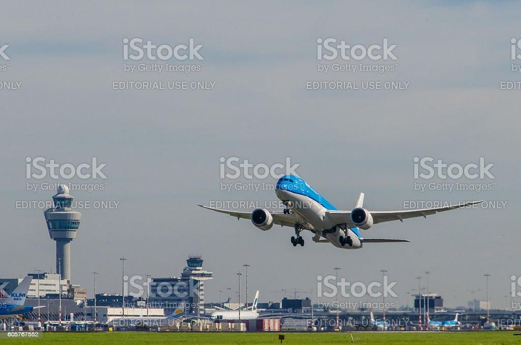 Boeing 787-9 Dreamliner of KLM taking off at Schiphol. stock photo