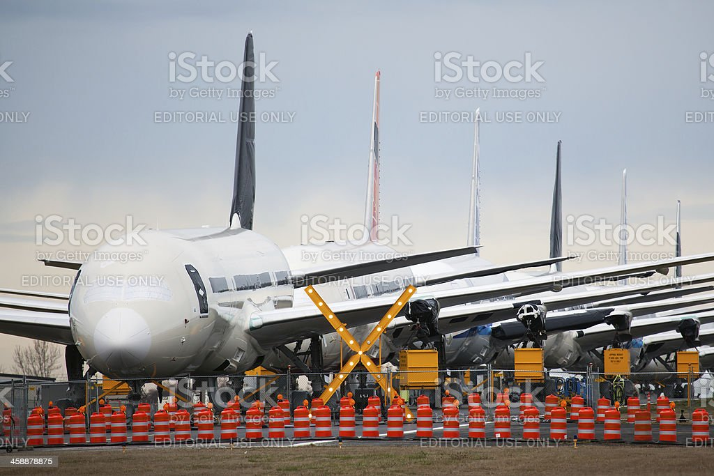 Boeing 787s stored in Everett, Washington royalty-free stock photo