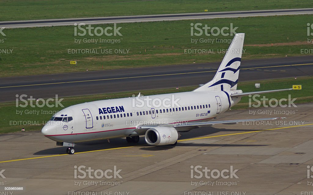 Boeing B 737-300 of Aegean Airlines stock photo
