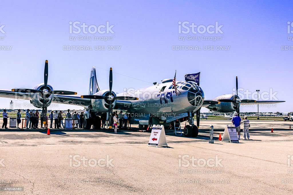 WWII Boeing B29 Superfortress Bomber Plane stock photo