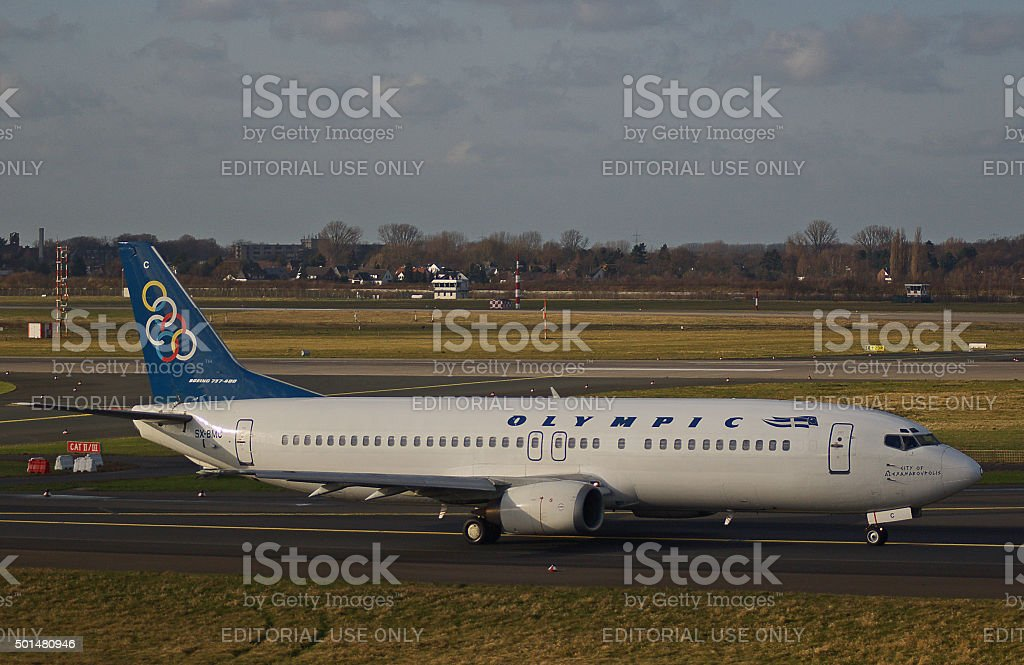 Boeing B737-400 of Olympic Airlines stock photo
