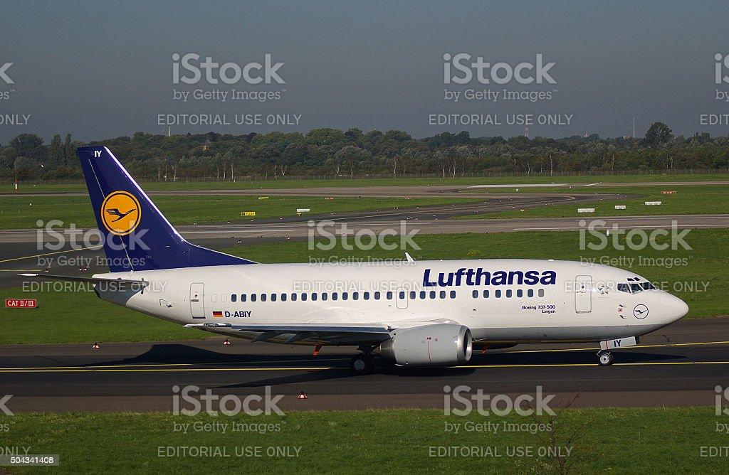 "Boeing B737-500 of Lufthansa ""Lingen"" stock photo"