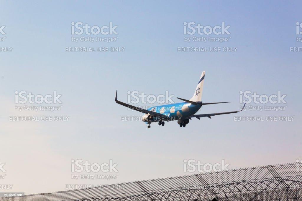 Boryspol,  Kiev region, Ukraine - October 30, 2015. UP (ELAL budget brand) Boeing B737-800 lands stock photo