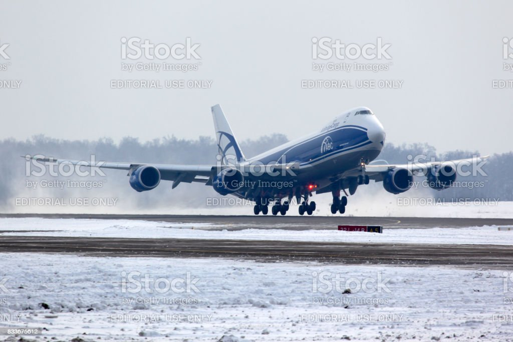 Boeing B-747-800 VQ-BLQ of Air Bridge Cargo airlines taking off at Domodedovo international airport. stock photo
