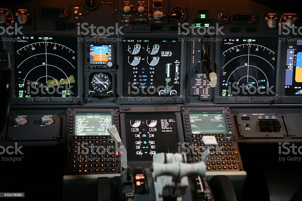 Boeing Jet Cockpit Flight Instruments stock photo