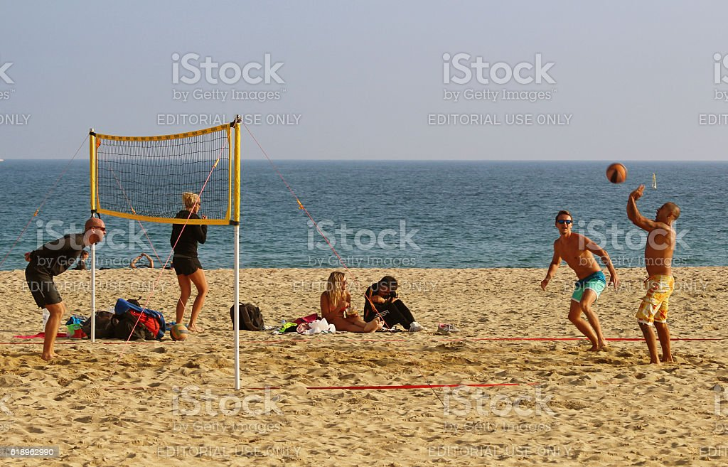 Bogatell beach volley october stock photo